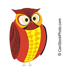 Wild forest bird owl red and yellow plumage big eyes - Owl...