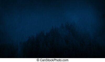 Wild Forest In Heavy Rainfall At Night - Wilderness forest...