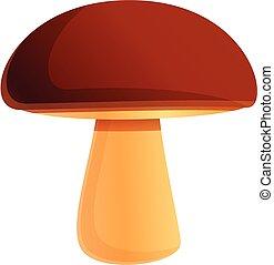 Wild forest mushroom icon, cartoon style