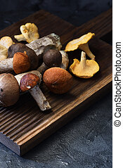 Wild forest mushrooms: boletus,  chanterelles and aspen mushrooms on dark oak board on black background. Low key still life with natural light