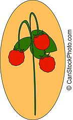 Wild fresh strawberry, illustration, vector on white background.