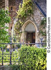 garden by old English church