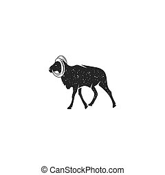 Wild goat silhouette shape. Vintage hand drawn wild animal icon, symbol isolated on white background. Stock vector illustration of animal