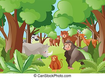 wild, groene, dieren, bos