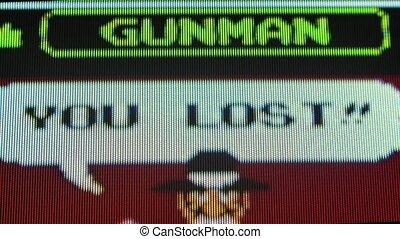 Wild Gunman retro video game. Popular classic Nintendo game from the 80s. Initial splash screen. Pixel background