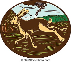 Illustration of a wild hare bunny rabbit running viewed from side with farm trees and mountains in background set inside oval shape done in retro woodcut style.
