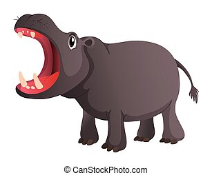 Wild hippo opens its mouth