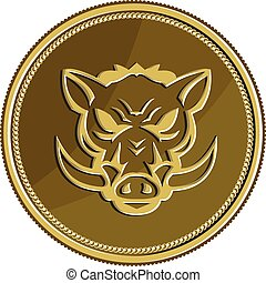 Wild Hog Head Angry Gold Coin Retro - Illustration of an ...