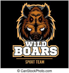Wild Hog head Mascot on black - sport team