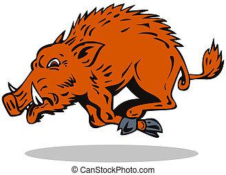 Wild Hog Jumping - Illustration of a wild pig boar razorback...