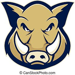 Wild hog or boar head mascot - Clipart picture of a wild hog...