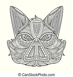 Wild hog or boar head mascot coloring page. cartoon angry...