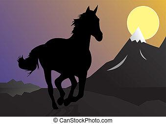 Wild horse. A running horse. A beautiful landscape