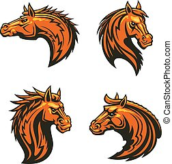 Wild horse and angry mustang stallion mascots
