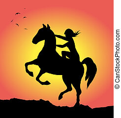 Wild horse and girl at sunset