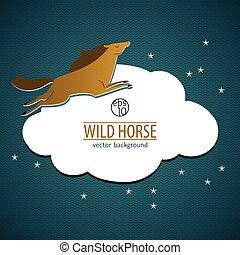 Wild Horse Emblem - Wild horse emblem with brown horse lying...