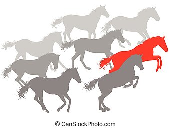 Wild horse fast and strong winner concept vector background...