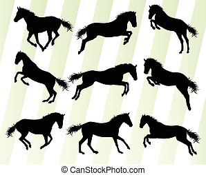 Wild horse fast and strong winner set concept vector...