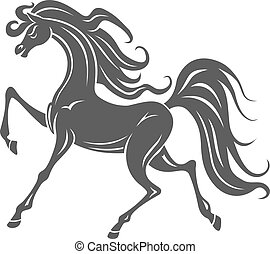 Wild horse foal - Silhouette of gray horse foal for...
