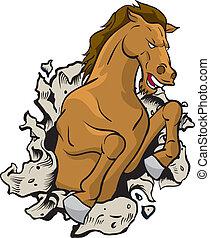 Wild horse - Horse Jumping through wall