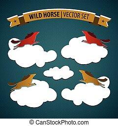 Wild Horse Icon Set - Wild horse colored isolated icon set...