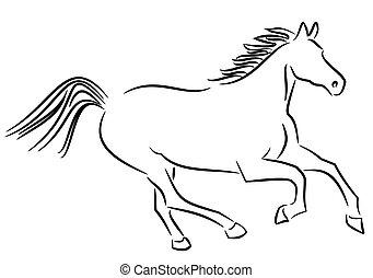Wild horse - Illustration of a running horse