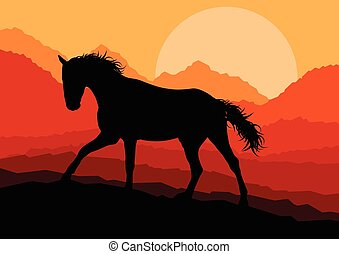 Wild horse in nature vector
