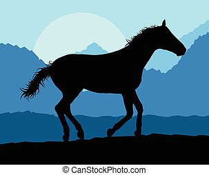 Wild horse in nature vector background landscape freedom...