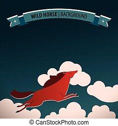 Wild Horse Poster - Wild horse poster with horse galloping...