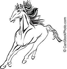 Wild horse racing stock image stock