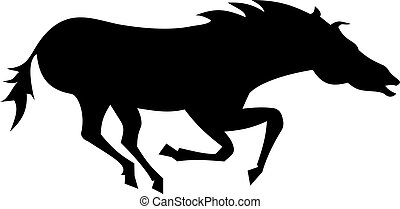 Wild horse silhouette isolated on white background