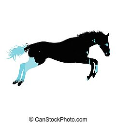 Wild horse silhouette made of abstract background forest...