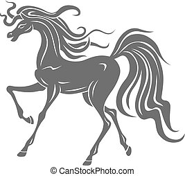 Wild horse - Silhouette of gray horse for equestrian design