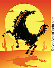 Wild Horse - Wild mustang in the dessert vector illustration
