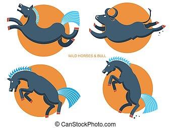 Wild horses and bull.Rodeo symbols