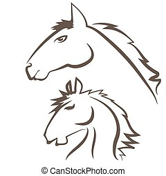 Horses Icons Isolated on White Background