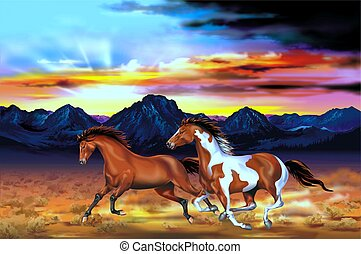 Wild Horses Run Illustration - Two Running Wild Horses at...