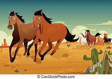 Wild Horses Running on the Desert
