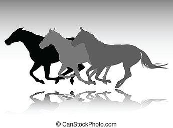 wild horses running - vector illustration
