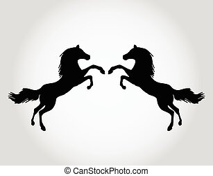 Wild horses silhouettes