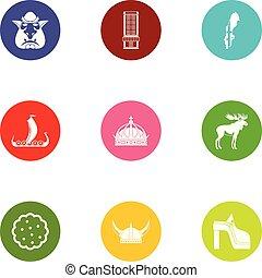 Wild icons set, flat style - Wild icons set. Flat set of 9...