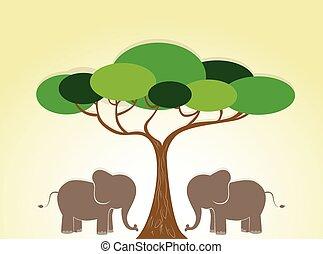 wild, illustratie, olifanten