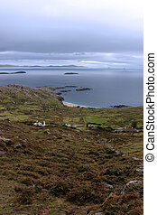 wild irish fields and islands view - scenic view in kerry...