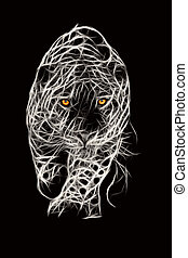 Wild Jaguar Attack Illustration - Large Jaguar Male...