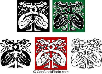 wild, keltisch, ornament, stijl, vogels