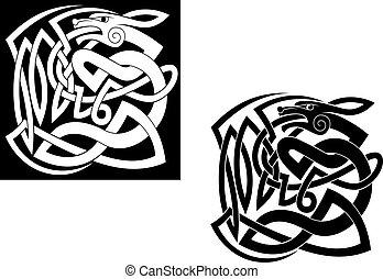 wild, keltische stijl, abstract, dier