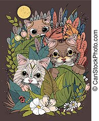 wild kitties adult coloring page - adult coloring page -...