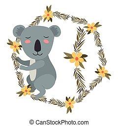 wild koala in wreath crown vector illustration design