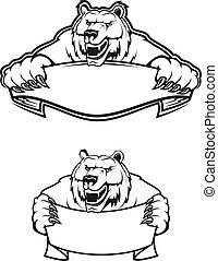 Wild kodiak bear as a mascot isolated on white background