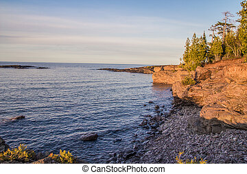 The rugged wild beauty of Presque Isle Park on the shores of Lake Superior in Marquette, Michigan. Lake Superior is the largest freshwater lake in the world.